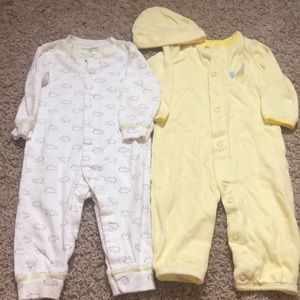 Pair of two 6 month buttoned sleepers